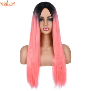 Pink Long Straight hair Cosplay Wig For Women Black White Red Blonde Cosplay Wig Natural Heat Resistant Fiber Annivia