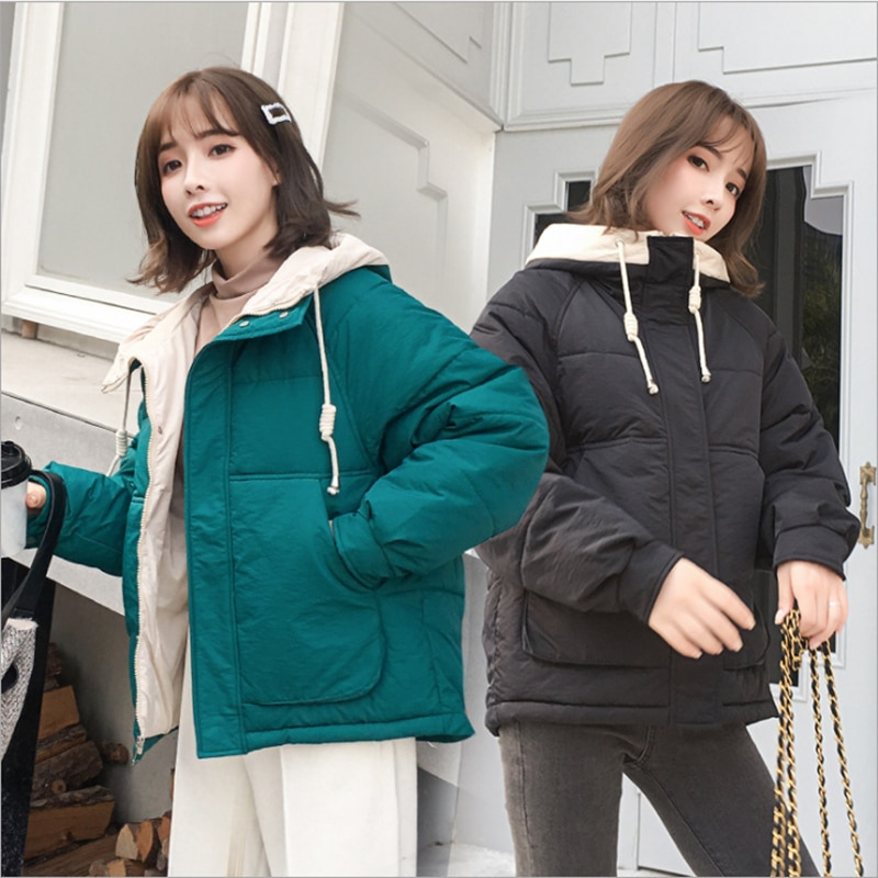 Korean Style Winter Jacket Women Newest Green With A Hood Black White Female Overcoat Loose Oversized Womens Thick Short Parka