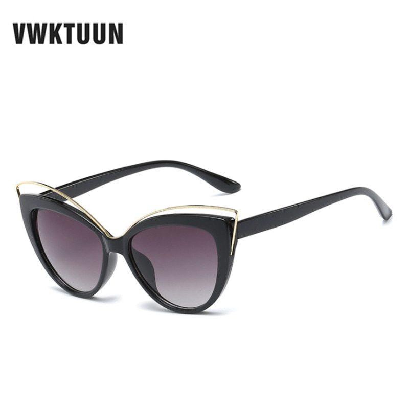 VWKTUUN Wunglasses Women 2020 Vintage Cat Eye Shades Hollow Out Frame Women's Glasses Oversized Sunglasses Woman Brand Designer