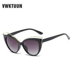 Vwktuun wunglasses mulheres 2020 vintage cat eye shades oco para fora do quadro óculos de sol de grandes dimensões mulher marca designer