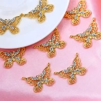 10pcsset 3021mm hollow alloy butterfly charms golden metal rhinestone 2 holes connectors pendant for diy necklace accessories