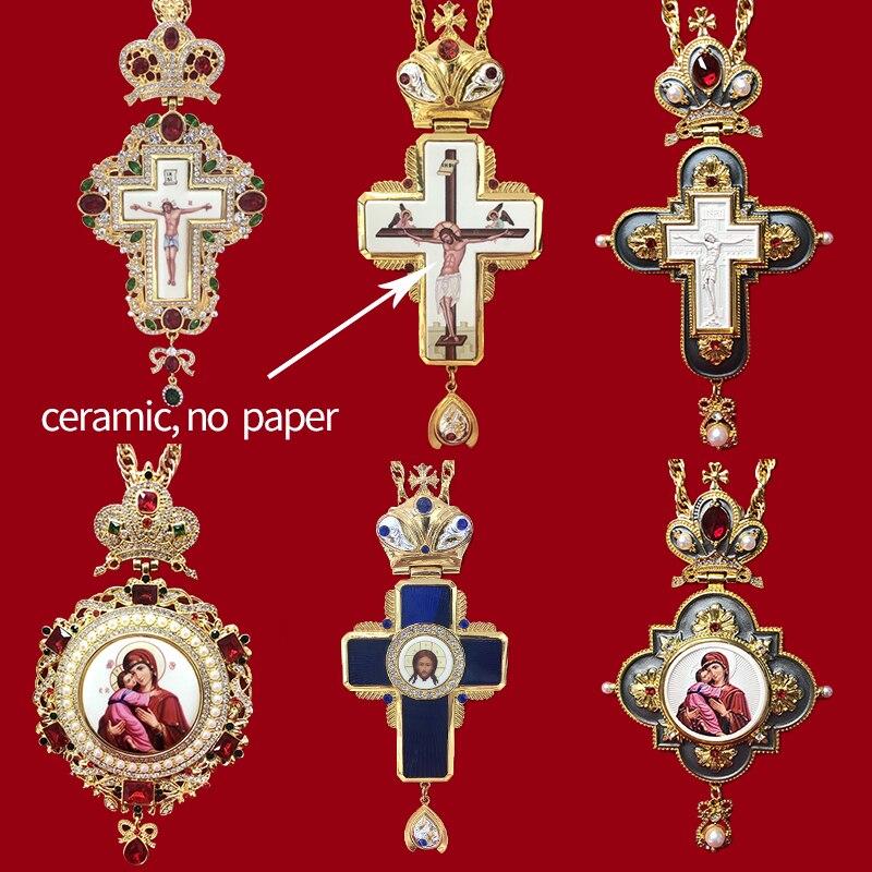 Colgantes del Crucifijo de Jesús religioso ortodoxo cruz Pectoral pedrería cadena cruzada oro joyería religiosa pastor artículos de oración