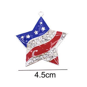 10pcs/lot Patriotic Star Brooch American USA Flag Pin Independence Day 4th of July Memorial Veterans' Day Pendant Charm