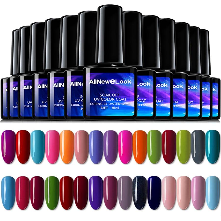 Allneweluk Гель-лак для ногтей UV 8 мл 120 цветов Набор черных бутылок гель-лака es для дизайна ногтей