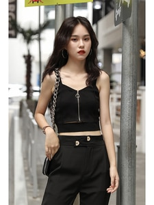 Women Tops Women Crop Top Zipper Fly Stretchy Knitted Tops Bare Midriff Sexy Tops Women Sleeveless Solid Crop Top For Women