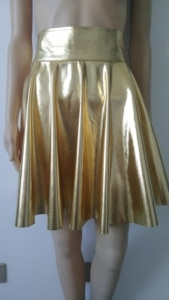 Womens Shiny Metallic gold Color Imitated Skirt Mini Skater Above Knee Skirts Evening Party Skirt