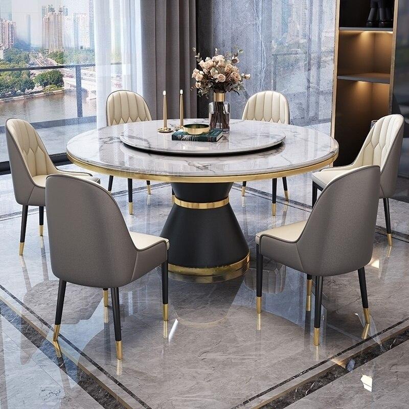 فاخر ذهبي معدن مستدير طاولة طعام من الرخام وكرسي حديث شمالي أوروبا عشاء غرفة أثاث لازم