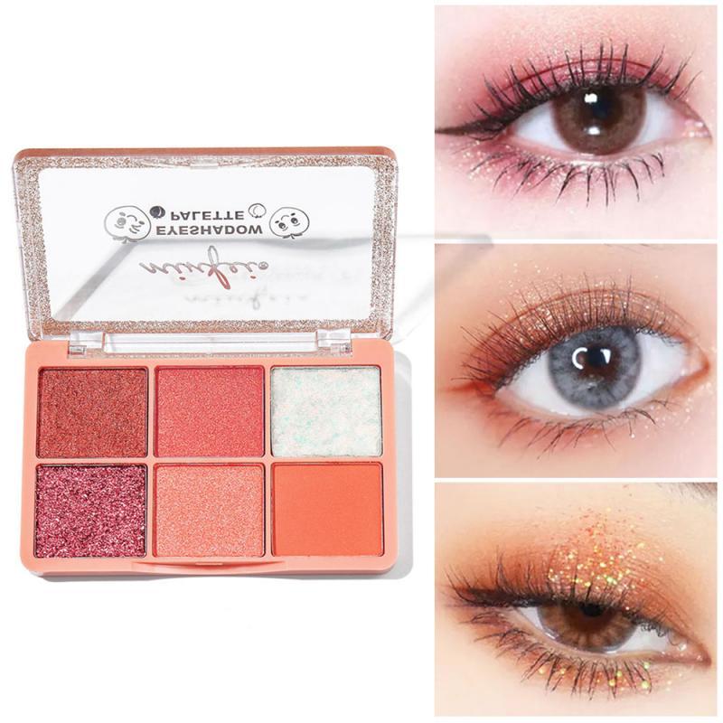 Minfei olho maquiagem sombra palete pôr-do-sol sombra 6 cores shimmer pigmentado sombra paleta compõem paleta maquillage