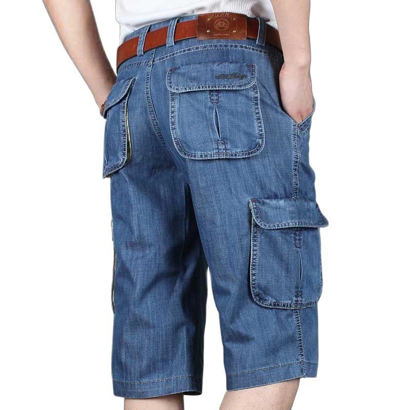 AliExpress - Summer New Brand Mens Jeans Denim Shorts Cotton Cargo Shorts Big Pocket Loose Baggy Wide Leg Embroidery Bermuda Beach Boardshort