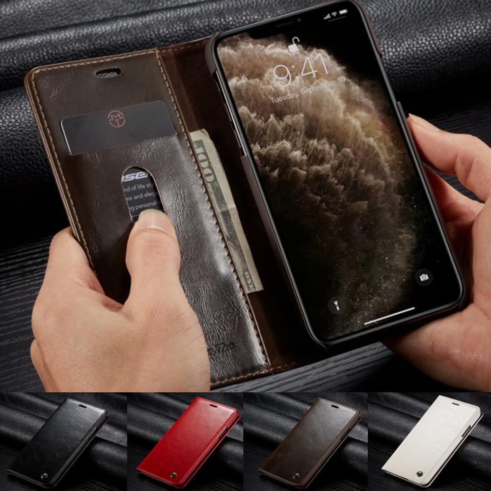 Funda de negocios para iPhone 11 Pro, Funda de cuero de lujo tipo billetera para iPhone 11 7 8 6 Plus con Cierre magnético, funda con tapa y soporte