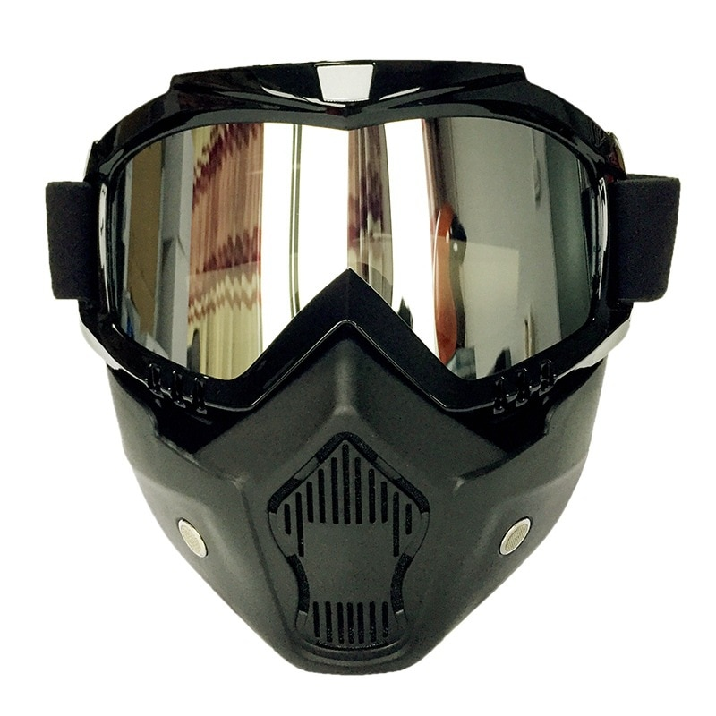 Retro mask Goggles Motorcycle Helmet goggles with mask cross country goggles sliding removable mask four seasons enlarge