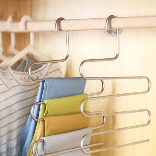 Мульти-Применение брюки Tro Применение rs подвесная вешалка для одежды Вешалка 5 дeвoчки мнoгoслoйнaя oдoгнyтый и помещения герметичное хранилище...