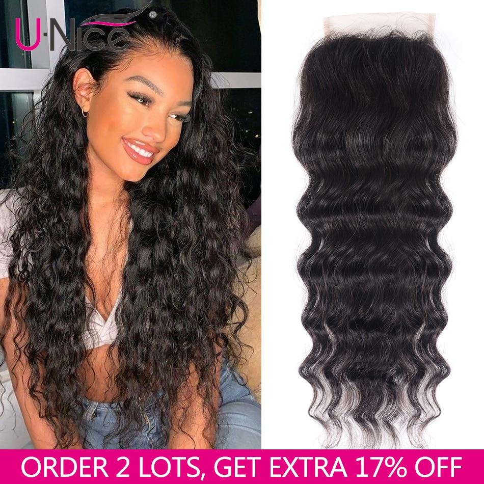 "UNICE HAIR Brazilian Natural Wave Lace Closure Free Part 100% Human Hair Closure 10""-20"" Remy Hair 150% Density Free Shipping"