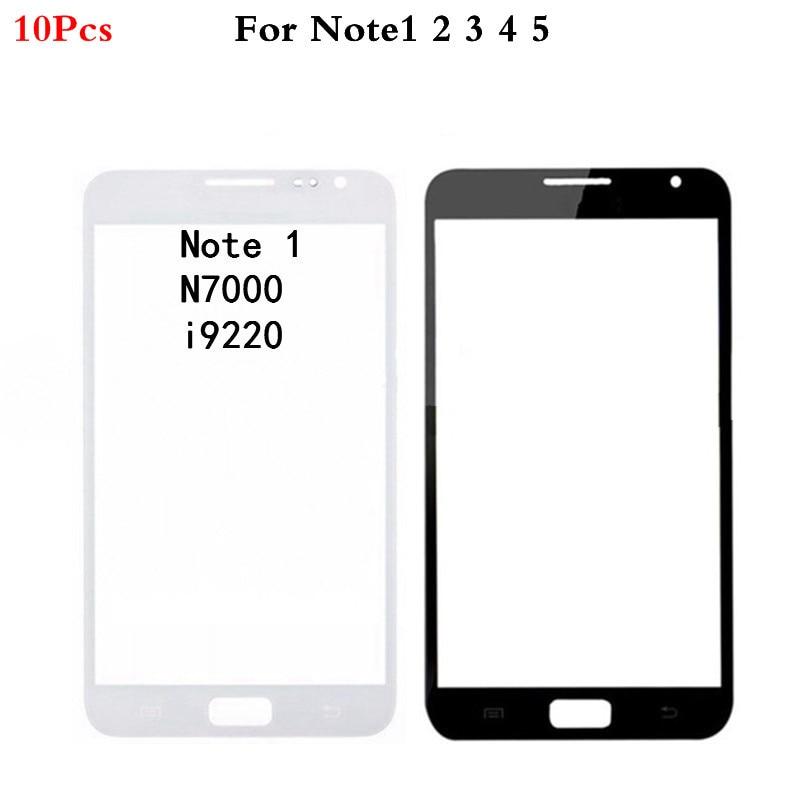 10 Pçs/lote Para Samsung Nota Galáxia 1 2 3 4 5 N7000 N7100 N900 N910 N920 Note4 Note5 Frente Outer Lente de Vidro Do Painel da Tela de Toque