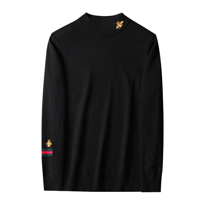 autumn and winter sweater women 2020 new slim size long sleeve bottoming shirt students korean warm sweater t shirt tide Sweater Embroidery Men's T-shirt 2021 Autumn and Winter New Semi-high Collar Long Sleeve Bottoming Shirt Fashion Handsome