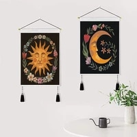 boho sun and moon for canvas painting with frame poster for living room decoration wall art with wood hanging scroll tassel