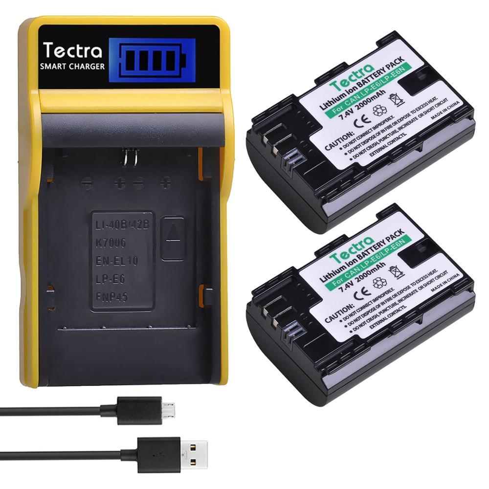 2pc 2000mAh bateria LP-E6 LPE6 lp e6 LP-E6N batería + cargador USB...
