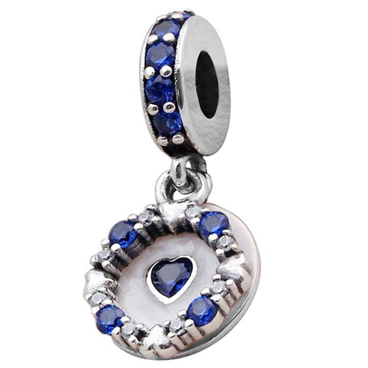 Corazón de amor deslumbrante Original con cuentas de cristal claras y azules se adapta a la plata de ley 925 Charm Pandora pulsera brazalete joyería Diy