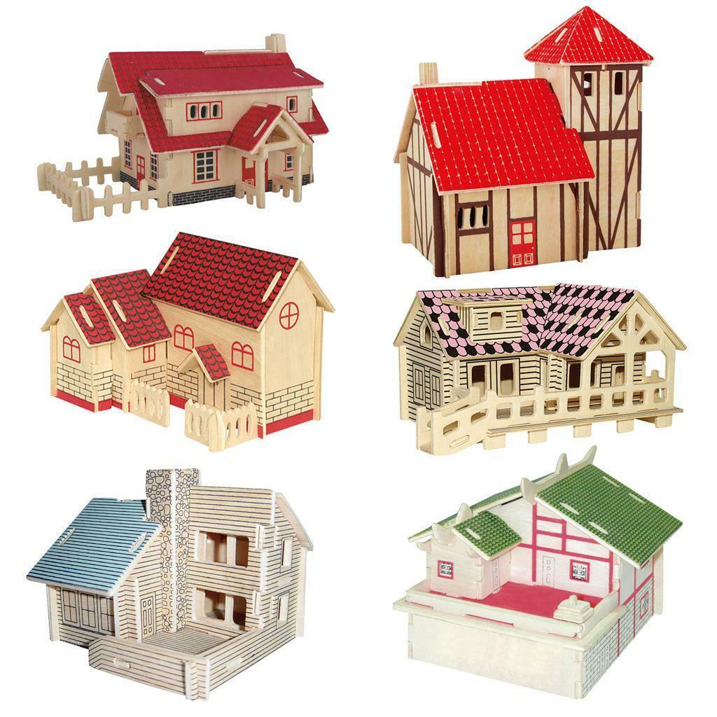 Kit de construcción 3D DIY Woodcraft casa Global modelo niños rompecabezas de Madera Juguetes