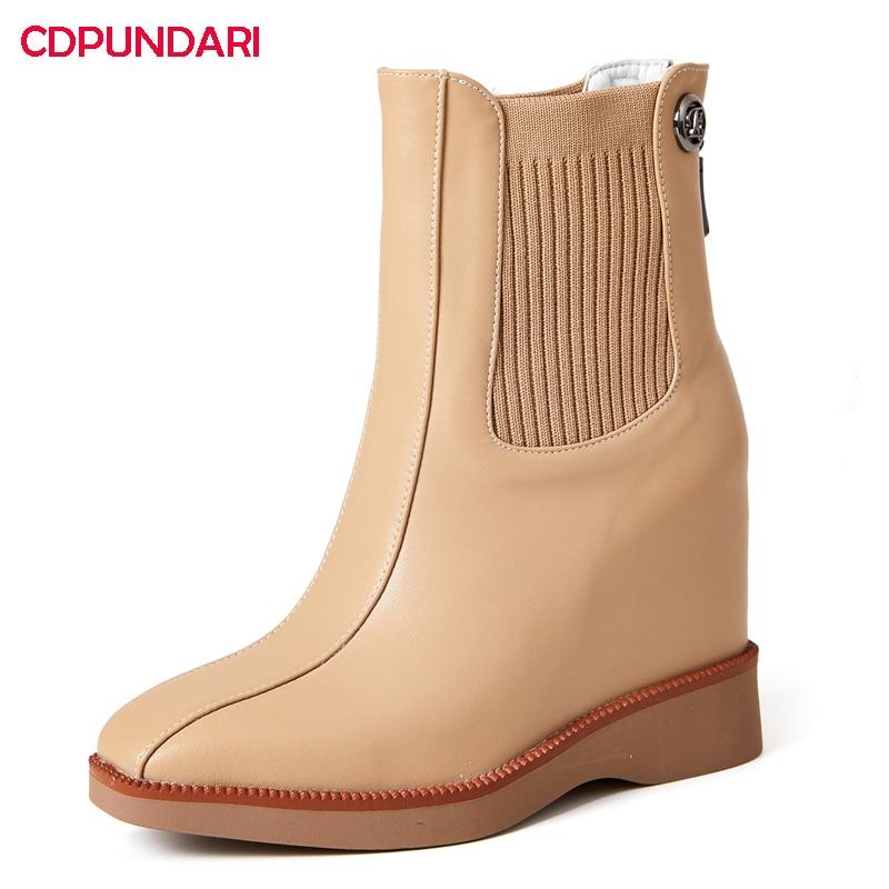 NEW Genuine Leather Wedges Platform Ankle Boots Women Autumn Winter Super High Heels Boots Shoes Bottes Plateforme Femme Black
