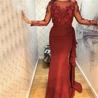 arabic burgundy o neck satin mermaid evening dresses 2020 beading 3d handmade flowers long sleeves ruched ruffles long prom gown