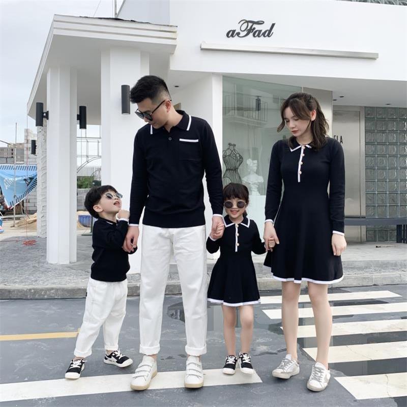 فساتين زفاف للأم والبنت ، ملابس عائلية متطابقة ، قمصان للأب والأب والطفل ، سترة الخريف
