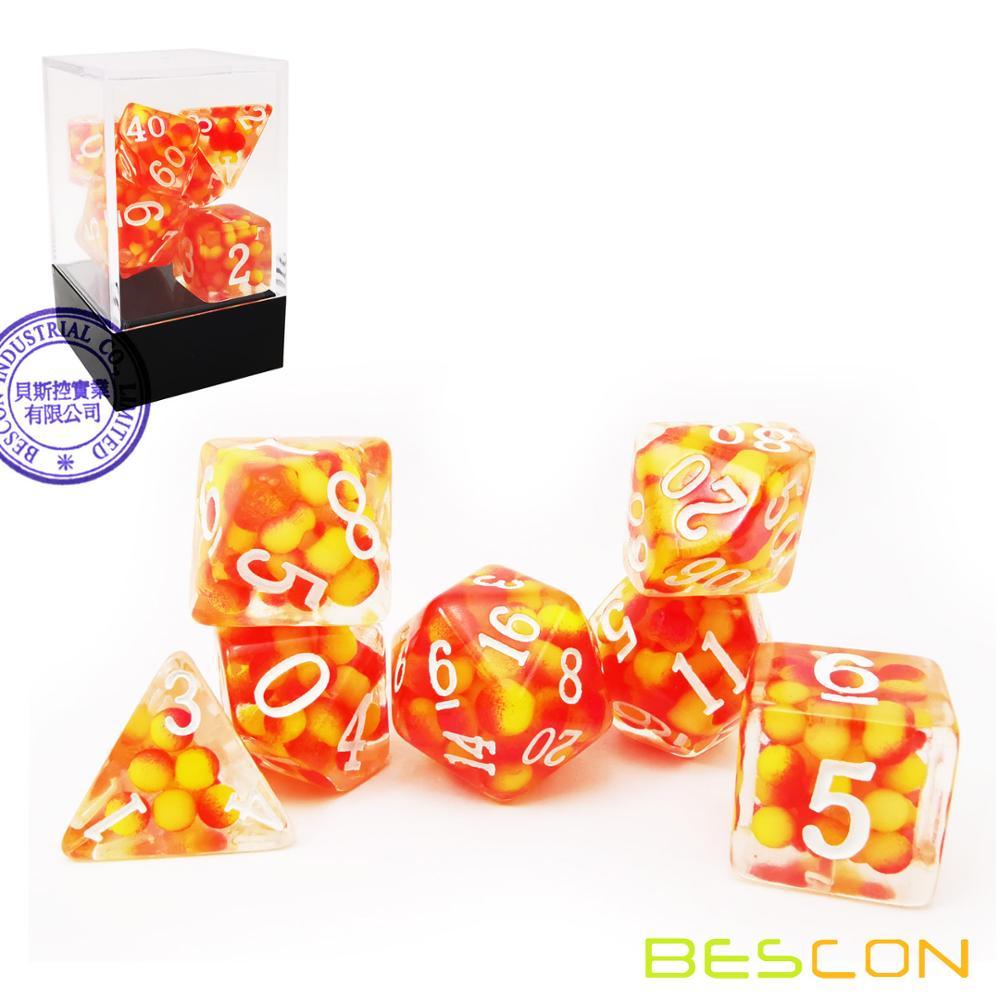 Bescon firey pérola conjunto de dados poliédricos, fogo pérola poli rpg dice conjunto de 7