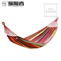 outdoor leisure single swing canvas hammock outdoor widening thick camping supplies send hammock rope