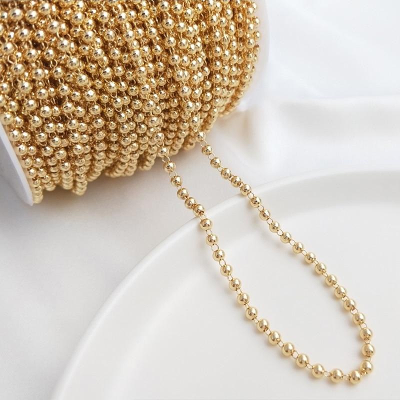 1 метр Медь позолоченный шар бусины звено цепи ювелирные изделия оптом цепи оптовая продажа для материалы ручной работы Выводы для изготовл...