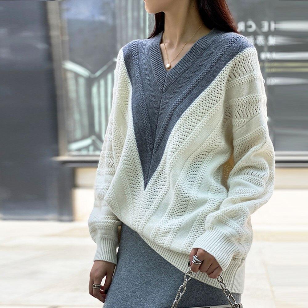 Vrouwen Trui V-hals Gebreide Kasjmier Trui Dame Wollen Trui Winter Losse Gebreide Top Coat Fashion Casual Japan Stijl Kleding