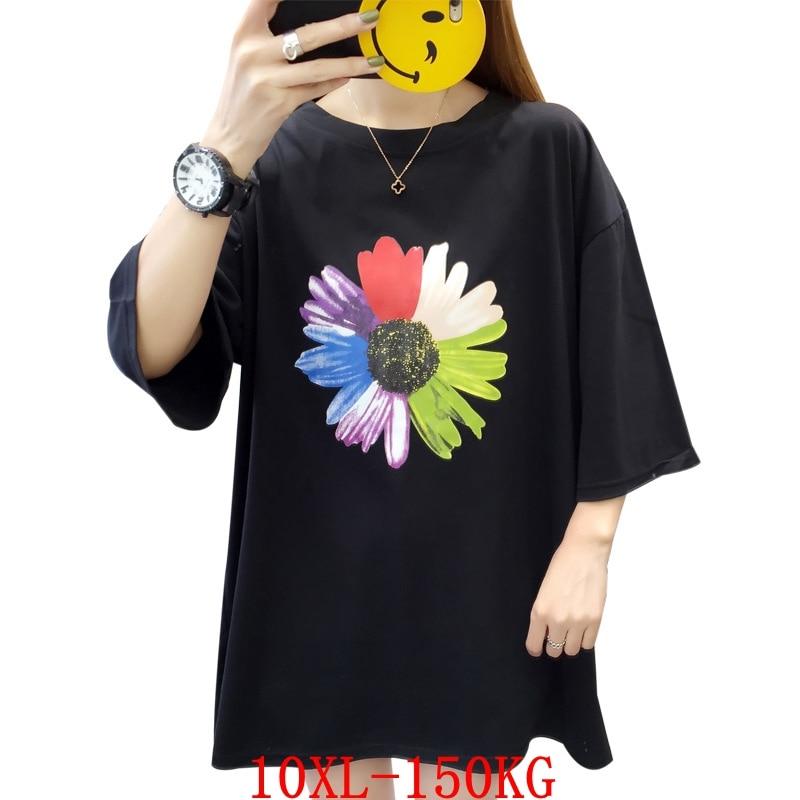 Large size women's T-shirt big flower plus size 7XL 8XL 9XL10XL summer round neck short sleeve loose plus size black top