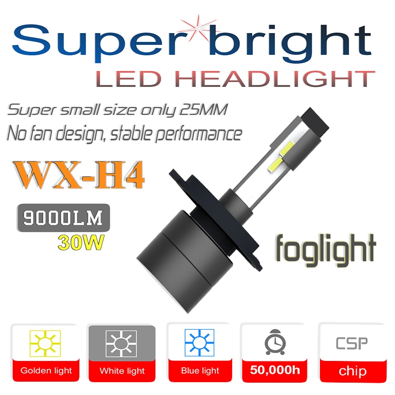WX-H4/HB2 LED bombillas de faro delantero de coche Luz de niebla Super mini 30W 6000K 9000Lm... H1 H3 H7/880/881/H27 9005/HB3 9006/HB4 H8 H9 H11 5202