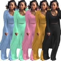3 piece set women three piece set women outfit long sleeve o neck women clothes matching sets female summer womens suits