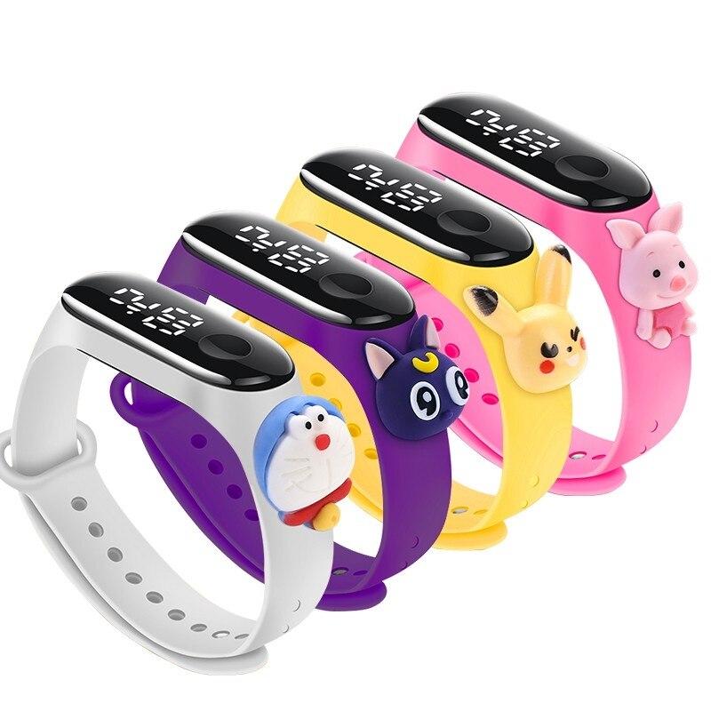 New Creative cartoon student kids watch led luminous 50bar dwaterproof water proof kids bracelet for boys girls gift watch