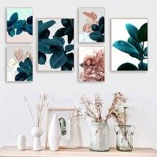 Affiches botaniques nordiques en feuille   Imprimés de toile, plante succulente moderne, peinture murale, images dart pour décoration de salon, de maison