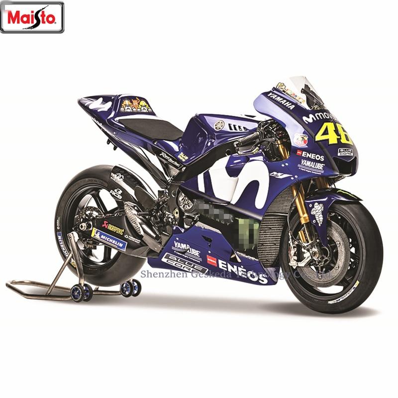 MaistoMaisto 1:18 2018 Yamaha 46 YZR-M1 World Championship 2017 Rossi original authorized simulation alloy motorcycle model toy