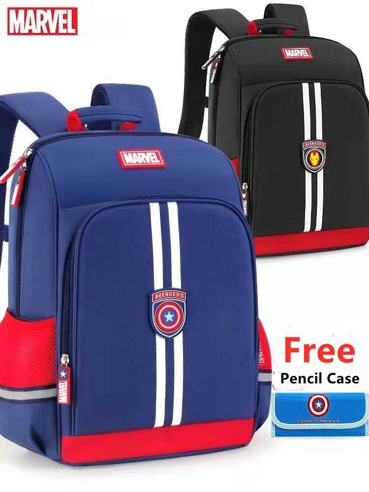 Disney Marvel School Bags For Boys Primary Student Shoulder Backpack Spider Iron Man Captain America Grade 1-4 Kids Gift Mochila