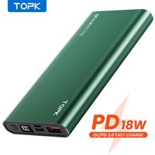 TOPK I1006P Power Bank 10000mAh Portable Charger LED External Battery PowerBank PD Two-way Fast Char