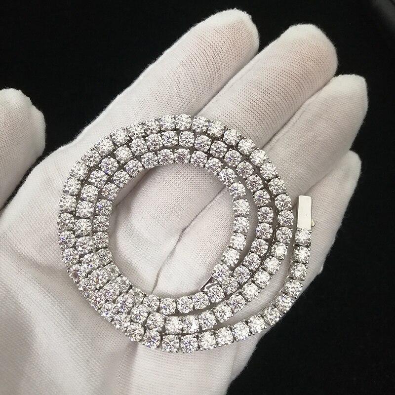 OTIY Iced Out 925 Sterling Silver Claw Set 3mm 4mm VVS D Moissanite Tennis Chain Bling Necklace Hip Hop Bracelet