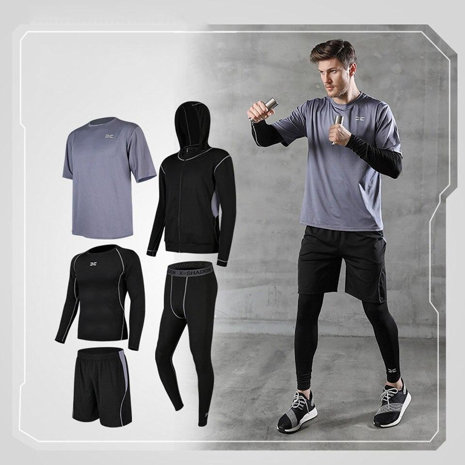 5 ppiezas s pantalones de compresión de los hombres camisa de manga larga conjunto de chaqueta caliente parte superior inferior de gimnasio ropa deportiva de Fitness entrenamiento