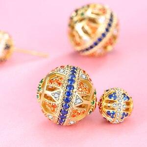 Small ball women's colorful crystal diamond design sense 925 sterling silver fashion earrings