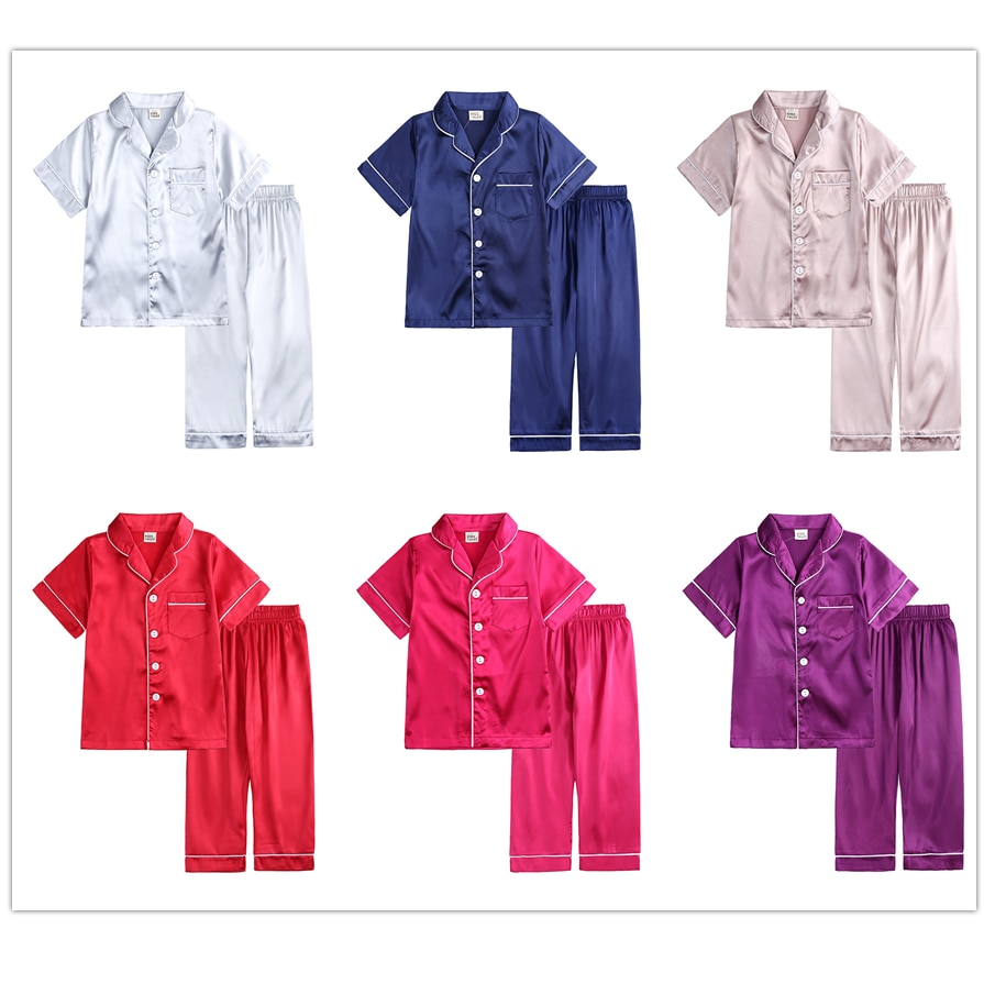 Baby Summer Satin Pajama Sets Boys Clothes Toddler Short Sleeve Tops Pants Kids Pajamas Girls 2 Piec