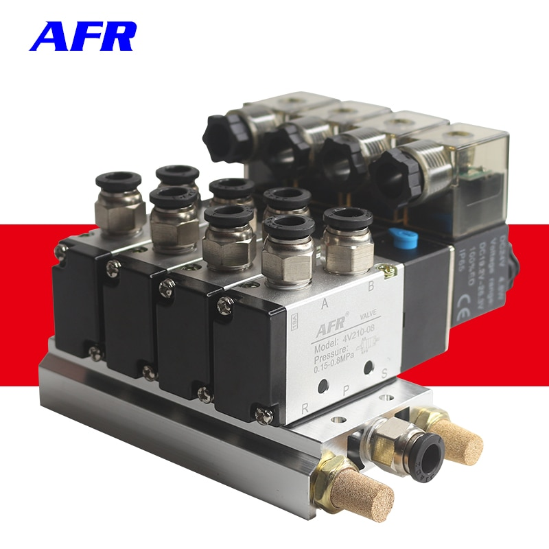 4V210-08 DC24V 12V 2 Posições 5 Way Quadruple Válvula Solenóide de Alumínio Base de Montagem Conjunto 3 4 5 6 Silenciadores estações AC220V AC110V