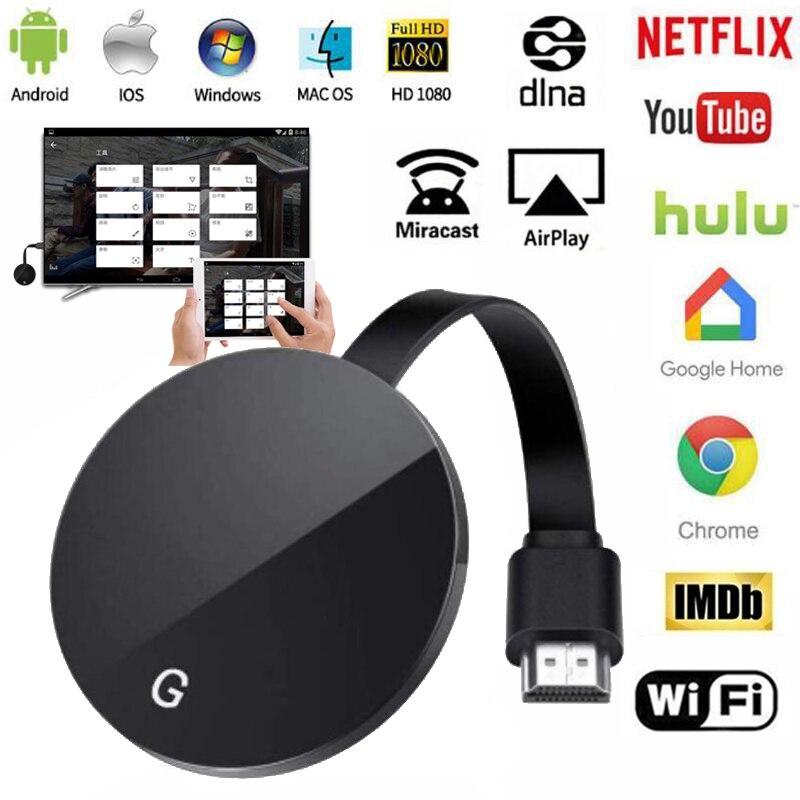 Vara da tevê sem fio 5g/2.4g hdmi wifi display tv dongle 1080p para google chromecast 3 2 receptor netflix para miracast android ios
