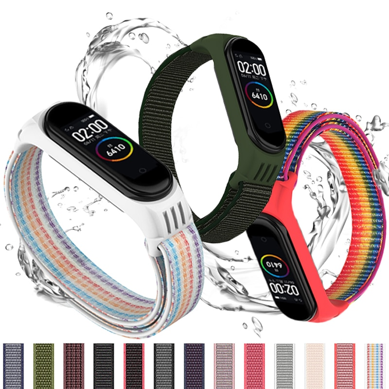 Nylon loop for xiaomi mi band 4 3 strap Sport Bracelet smartwatch Belt pulsera correa xiaomi strap Wristband for Miband 6 5 band