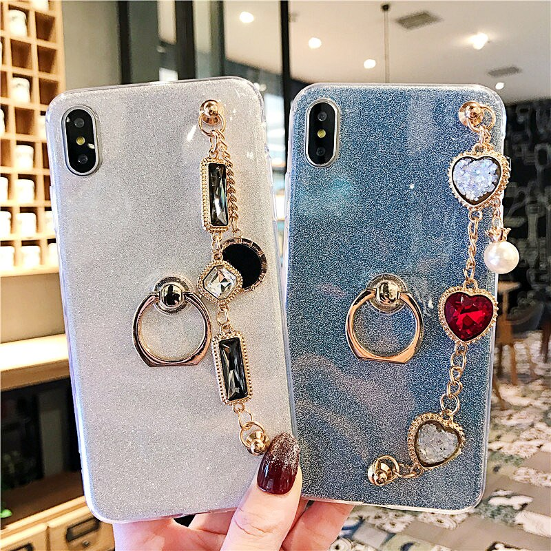 Pulseira glitter telefone capes para iphone xs max 4 4S 5 5S se 6 6s 7 8 plus x xs xr capa com anel de dedo macio transparente capa
