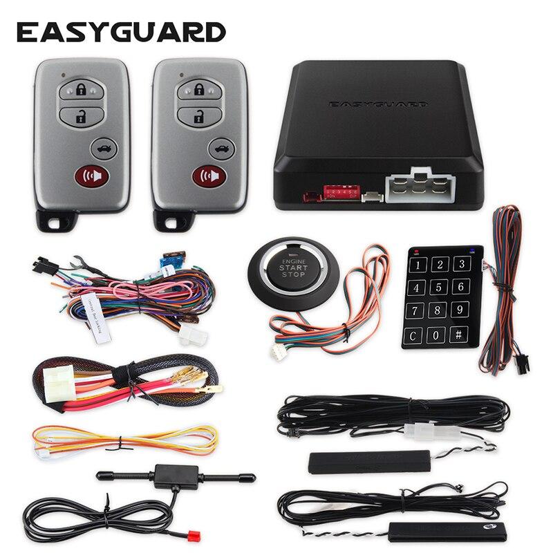 Sistema de alarma para coche EASYGUARD pke, botón de arranque, sistema de entrada sin llave, arranque remoto, bloqueo central de coche, teclado de contraseña de alarma automática
