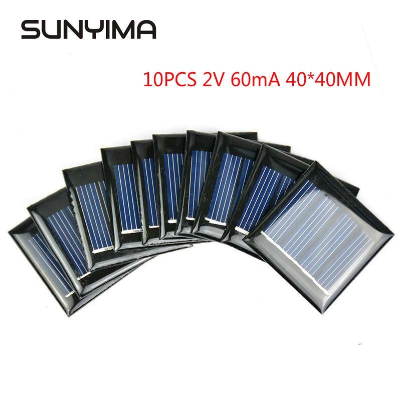 LISM 10 قطعة 2 فولت 60mA لوحة طاقة شمسية الايبوكسي الكريستالات لتقوم بها بنفسك لعبة ضوء الشمسية بطارية الطاقة تهمة وحدة 40*40 مللي متر الخلايا الشمسي...