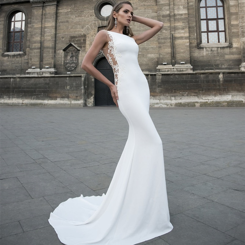 Promo New Arrival Elegant Mermaid Wedding Dress 2021 Appliques Cut-Out Sweep Train Stain Robe De Mariee For Women Bride Gown Simple