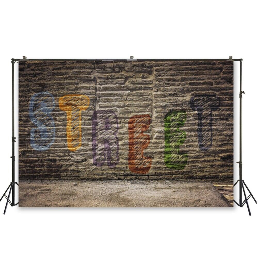 Huayi parede de tijolos com graffiti padrão fotografia pano de fundo hip hop decorações festa bolo adulto mesa cabine de fotos banner D-6074